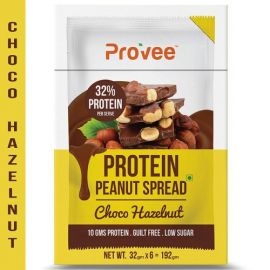 Provee Choco-Hazelnut Protein Spread -100% Natural - 192g (Pack of 6 x 32g)